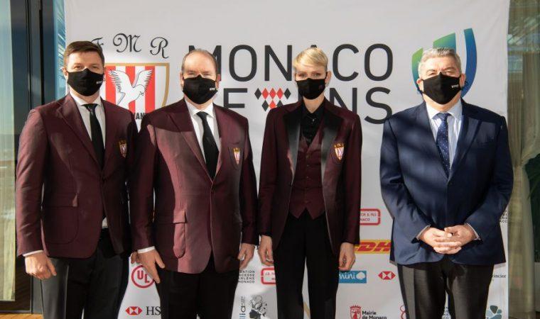 Présentation du tournoi Monaco Seven avec LL.AA.SS. le Prince Albert et la Princesse Charlène, Pierre Dartout, et M. Gareth Wittstock