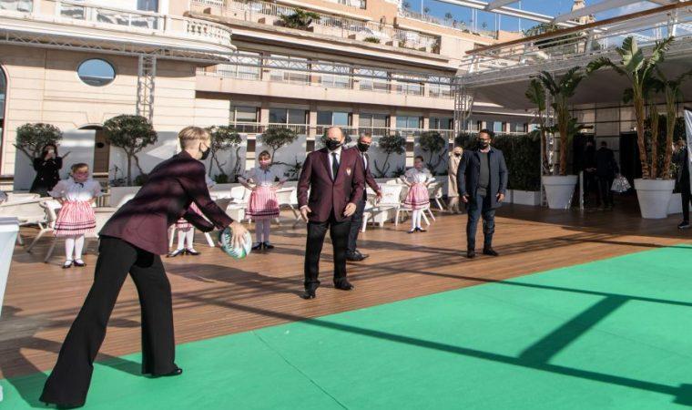 Kick-off officiel du tournoi Monaco Sevens avec LL.AA.SS. le Prince Albert et la Princesse Charlène