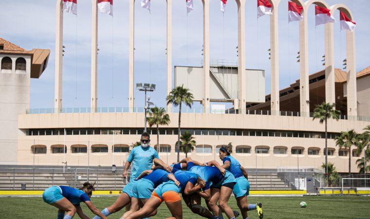 L'équipe féminine d'Argentine s'entraîne avant le TQO le 17 juin à Monaco. (Photo by Giorgio Perottino)